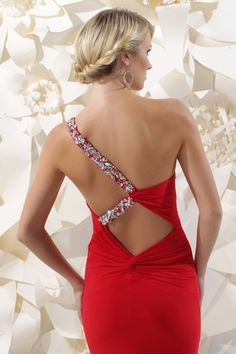 Sparkle 2013 Red One Shoulder Beaded Open Back Prom Dress 71232 Open Back Prom Dresses, Backless Prom Dresses, Black Prom Dresses, Short Dresses, Dress Prom, Bridesmaid Dress, Mermaid Dresses, Dance Dresses, Sparkle Gown