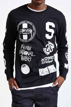 Stussy Dot Collage Long-Sleeve Tee - Urban Outfitters