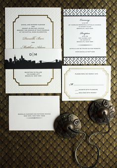 Danielle and Matthew – the stunning combination of gold foil frame and blind letterpress pattern make this a striking invitation. The belly band is the Riverside Drive suite skyline from our PostScript Brooklyn collection. - Lion In The Sun Par Slope Deco Wedding Invitations, Riverside Drive, Belly Bands, Pattern Making, Gold Foil, Letterpress, Blind, Brooklyn, Skyline