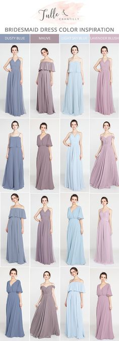 shades of blue and purple mismatched bridesmaid dresses for 2018
