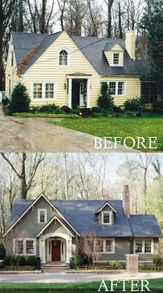 Home Remodeling Outdoor before and after curb appeal photos - Inspirational before and after landscaping and exterior home renovation photos. Home Exterior Makeover, Exterior Remodel, Exterior House Colors, Exterior Design, Exterior Paint, Exterior Siding, Grey Siding, Design Tropical, Before After Home