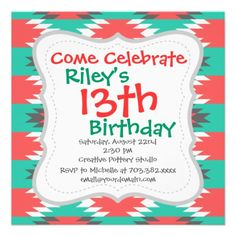 Aztec Native American Turquoise and Pink Pattern Personalized Invites