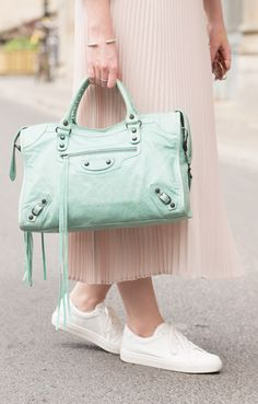 Balenciaga City bag in turquoise Maldives now available at www.lovethatbag.ca