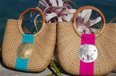 Hobe Sound Cocktail Party Basket Bag--great choice for a tropical vacation, cruise or destination wedding! Preppy Monogram, Straw Handbags, Welcome Bags, Basket Bag, Beach Tote Bags, Straw Bag, Hobe Sound, Cocktails, Reusable Tote Bags