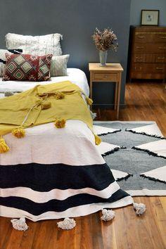 Rustic Bedroom Design, House Shelves, Blue Rooms, Retro Design, Soft Colors, Black Stripes, Color Pop, Boho, Bedroom Inspiration