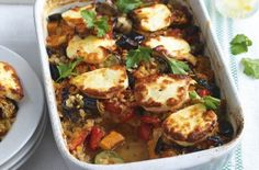 461 fat per portionSweet potatoes and lentils make this dish nice and filling while the salty halloumi is a nice naughty treat - well if it comes under 500 cals it can't be that bad, right? Get the recipe: Turkish halloumi bake High Protein Vegetarian Recipes, Veggie Recipes, Cooking Recipes, Healthy Recipes, Fast Recipes, Cheap Recipes, Yummy Recipes, Healthy Food, Recipies