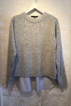 Fall's Best Sweaters: Tibi Wool & Stripe Shirting Combo Pullover, $595