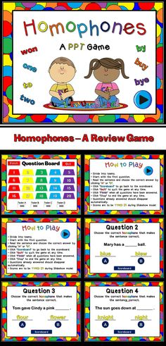 Homophones are always a problems when it comes to writing. Here's a fun review game for you and your students to play. Students must choose which homophone goes into the sentence to make the sentence correct. It's a  Student vs. Student  game so students will play against each other in small groups. Great for reviewing!