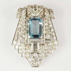 Magnificent Art Deco Period Aquamarine & Diamond Platinum Clip Brooch ~ French Circa 1930 / Mark Parkhouse Antiques & Jewellery