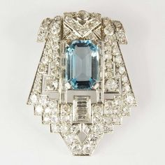 Magnificent Art Deco Period Aquamarine & Diamond Platinum Clip Brooch ~ French Circa 1930 / Mark Parkhouse Antiques & Jewellery