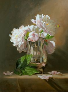 Peonies in a Silver Pitcher, by Sandra Corpora