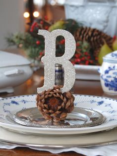 Pine Cone Place Setting With Letter