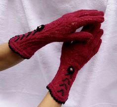 Claret Elegant Vintage Victorian Lace Gloves in Boho by domklary