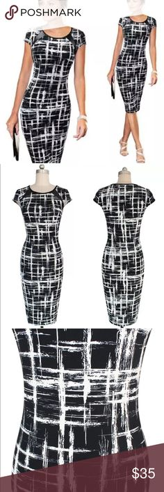 """RESERVED FOR ROZZI**BLACK AND WHITE CLASSY DRESS! Polyester - super cute business professional work dress for work or play!! Gorgeous design. --- brand new ---- So soft, and stretch material that fits to your curves. I am modeling a size medium in the photo. I am 5'6"""" and 120 pounds. Dresses Midi"""