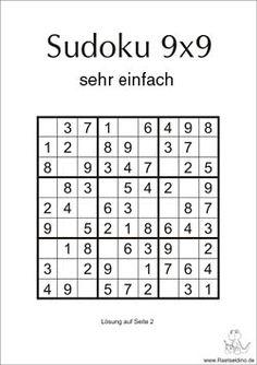 Sudoku zum Ausdrucken - sehr einfach