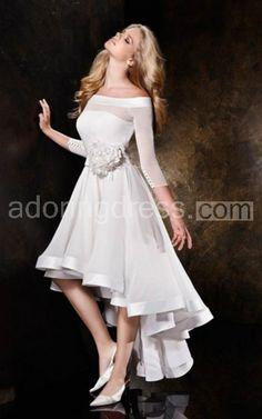 Off-The-Shoulder 3/4 Sleeves Bridal Dress With Flower Embellishments