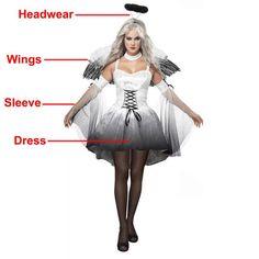 Halloween Costumes For Women White, Black Fallen Angel