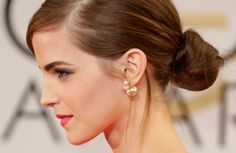 Emma Watson with stunning pearl earrings.  www.ofgraceandbeauty.com