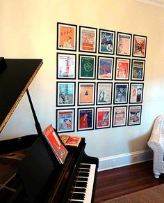 Sheet-music covers as wall-art. Classic art-deco music framed and displayed... perfect for the piano room!