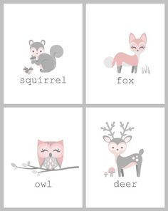 Pink and Grey Woodland Animal Friends - Deer, Owl, Fox, Squirrel - Nursery Wall Art Print (8 X 10)