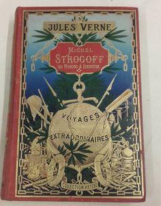 Reliures de l'éditeur Pierre-Jules Hetzel (1814 - 1886), connu notamment pour la collection des Voyages extraordinaires de Jules Verne. Michel Strogoff, Jules Verne, Cover, Collection, Art, Book Binding, Travel, Stone, Art Background