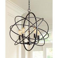"Ellery 24 3/4"" Wide 5-Light Bronze Sphere Foyer Pendant"