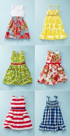 Mini Boden Little girl dresses - another non-tutorial, just inspiration. Must experiment with patterns, then find awesome fabrics and do it! by DRAGONFLIESSewing inspiration for little girl summer dresses. Titi Mimi needs to make a few of these lol. Little Girl Summer Dresses, Little Dresses, Little Girl Dresses, Cute Dresses, Girls Dresses, Dress Summer, Summer Sundresses, Boden Dresses, Amazing Dresses
