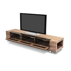 "Dot&Bo - The Tube Modern TV Stand 79"" - perforated front allows media receivers to work behind closed door."