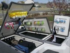 Excellent And Best Boat Organization Ideas To Keep Your Boat Clean - Fishing organization - Hobby Boat Building Plans, Boat Plans, Bass Boat Accessories, Kitchen Accessories, Boat Organization, Storage Organizers, Bass Boat Ideas, Boat Cleaning, John Boats