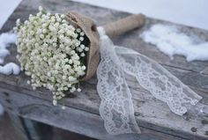 Wedding Flower Bouquet made with Ivory, Cream, Baby Breath, Burlap and Lace Bridesmaids Bouquet.