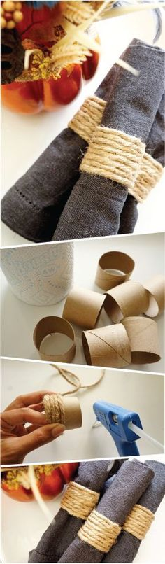 Give your holiday dinner parties a rustic vibe with this DIY Napkin Holder made out of a repurposed Bounty Paper Towel roll and twine. This quick and easy tutorial can be done in no time at all, and your guests will love the simple homemade touch. Bounty Paper Towels, Paper Towel Rolls, Diy Rings, Diy Napkin Rings, Rustic Napkin Rings, Napkin Ideas, Napkin Folding, Deco Table, Decoration Table