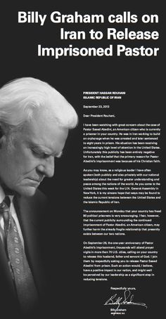 Billy Graham takes out full page ad in NY Times calling on Iran to release Pastor Saeed Abedini. | September 23, 2013