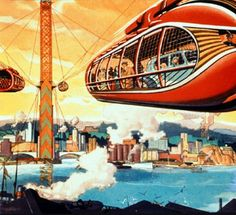 Some sort of futuristic cable transport. Don't think I would have the nerve to ride something like this...
