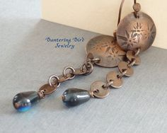 Kite Earrings Long Copper Earrings Stamped Copper by BanteringBird
