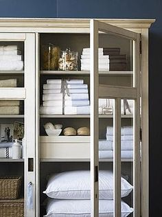 I love the idea of using vintage cabinets/armoires for a linen closet, etc. If styled like this, it is so beautiful! Organizar Closets, Linen Cupboard, Linen Closet Organization, Kitchen Organization, Linen Storage, Vintage Design, Bathroom Storage, Bathroom Closet, Laundry Storage
