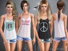 388 Teen top with shorts by sims2fanbg for Sims 3