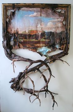 """Valerie Hegarty - West Rock with Branches. Wood, wire, epoxy, archival print on canvas, acrylic paint, gel mediums, sand, glue, hardware, 48""""x65""""x11"""" (2012)"""