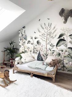 Today we are sharing 10 Stylish Nursery Wallpaper Ideas that just might convince to wallpaper your baby's nursery. Baby Room Decor, Nursery Room, Bedroom Decor, Nature Bedroom, Kid Decor, Wall Murals Bedroom, Kids Wall Murals, Garden Nursery, Baby Rooms