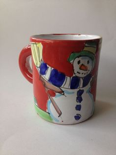 Hand Painted Snowman Red coffee mug cup La Musa made in Italy Art Studio Clay  #LaMusa
