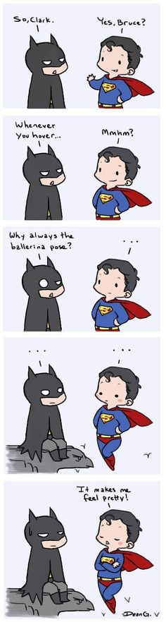 Batman and Superman have a conversation about how Superman poses.
