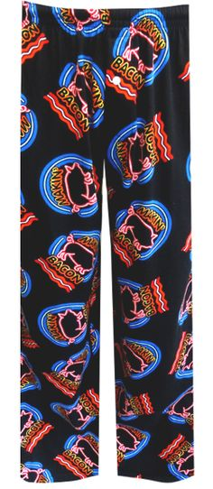 Makin' Bacon Lounge Pants Inspired by 1950's neon signs, these funny lounge pants for men feature a piggy and the phrase 'Makin...