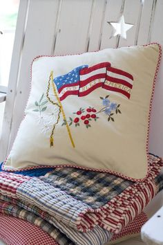 Patriotic Pillow and Blanket - red, white, and blue