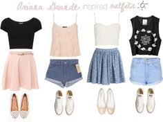 Ariana Grande Inspired Outfits | Ariana Grande inspired outfits with shorts and skater skirts ...