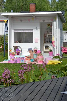 outdoor play area for kids – Kids' Playground . Garden Playhouse, Girls Playhouse, Build A Playhouse, Playhouse Outdoor, Playhouse Decor, Kids Outdoor Play, Kids Play Area, Play Areas, Play Spaces