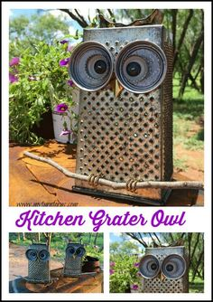 Kitchen Owl made from a cheese grater and lids! Trash to Treasure project.c - Grater - Ideas of Grater Crafts To Make, Arts And Crafts, Metal Garden Art, Owl Crafts, Junk Art, Trash To Treasure, Garden Crafts, Garden Owl, Yard Art Crafts