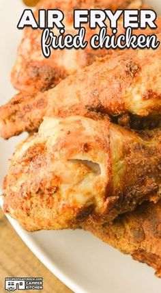 this recipe for Air Fryer Fried Chicken. Our chicken always comes out perfectly crispy and tender every single time. Using an air fryer is a fool proof way to get amazing fried chicken with very little mess compared to traditionally fried chicken. Air Fryer Chicken Leg Recipe, Air Fryer Fried Chicken, Air Fried Food, Fried Chicken Recipes, Air Fryer Chicken Thighs, Sausage Recipes, Roasted Chicken, Air Fryer Recipes Snacks, Air Frier Recipes