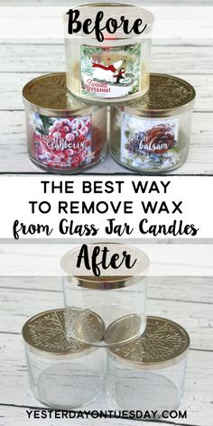 The Easiest Way to Remove Wax from a Glass Jar Candle: Reuse those pretty glass jars with an awesome hack to get rid of that old candle wax! A fun recycling/upcycling idea.