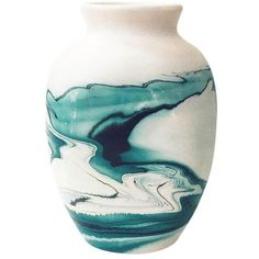 Vintage Nemadji Teal Pottery Vase ($68) ❤ liked on Polyvore featuring home, home decor, vases, pottery vases, vintage home decor, teal home decor, teal vase and teal blue home decor