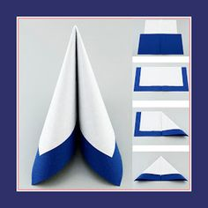 Tafelspitz from two napkins in white and blue colors Paper Napkin Folding, Christmas Napkin Folding, Paper Napkins, Table Etiquette, Invisible Stitch, Diy And Crafts, Paper Crafts, Wedding Napkins, Clothing Hacks