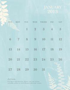January Calendar at Terrain